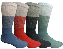 4 Units of Mens AntI-Microbial Crew Socks, Comfort Knit Ringspun Cotton, Terry Lined (4 Pack) - Mens Crew Socks