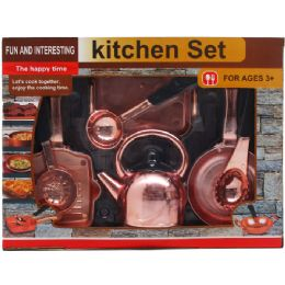 12 Units of 8 Piece Pretend Kitchen Play Set In Open Box With Cover - Girls Toys
