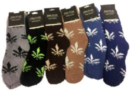 36 Units of Men's Marijuana Leaf Fuzzy Sock - Men's Fuzzy Socks