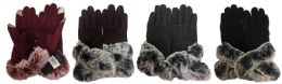 24 Units of Winter Touch Gloves Solid Color With Faux Fur - Conductive Texting Gloves