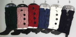 24 Units of Knitted Boot Topper Crochet With 3 Big Buttons - Womens Leg Warmers