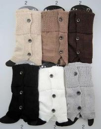 12 Units of Buttons Design Leg Warmer Boot Toppers Assorted - Womens Leg Warmers