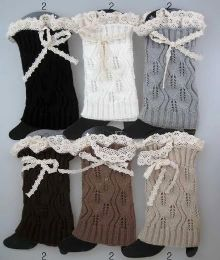 12 Units of Knitted Boot Toppers Leg Warmers With Lacey Bows - Arm & Leg Warmers