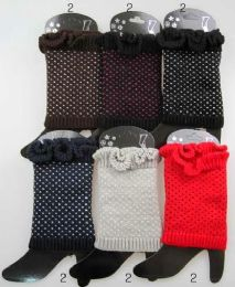 12 Units of Knitted Boot Toppers Leg Warmers With Dots Assorted - Arm & Leg Warmers