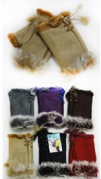 24 Units of Fingerless Faux Fur Suede Solid Color Texting Gloves - Conductive Texting Gloves