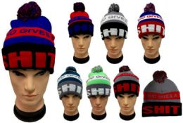"24 Units of ""Who Gives a Sh**t"" Beanie Hat With Pom Pom - Winter Beanie Hats"