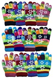 12 Units of Yacht & Smith 12 Pair Kids Warm Winter Colorful Magic Stretch Gloves And Mittens For 2-5 Age Kids (Pack L) - Kids Winter Gloves