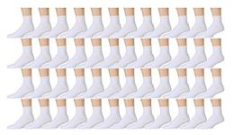 48 Units of Yacht & Smith Men's No Show Ankle Socks, Premium Quality Cotton Size 10-13 White - Womens Ankle Sock
