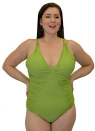 Yacht & Smith Plus Size Womens Swimsuit, Fashion One Piece Bathing Suit Tank (Olive Green, 3X) - Womens Swimwear