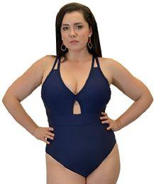 Yacht & Smith Plus Size Womens Swimsuit, Fashion One Piece Bathing Suit Tank (navy, 1x) - Womens Swimwear