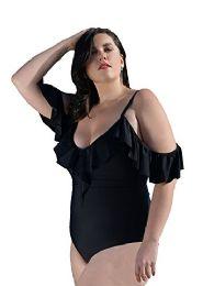 Yacht & Smith Plus Size Womens Swimsuit, Fashion One Piece Bathing Suit Tank (black, 1x) - Womens Swimwear
