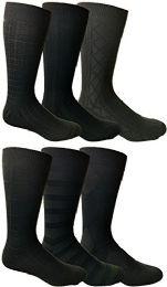 6 Units of Yacht&smith Mens Dress Socks, Textured Solid Colors, Knit Black - Mens Dress Sock