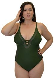 Yacht & Smith Plus Size Womens Swimsuit, Fashion One Piece Bathing Suit Tank (olive Crochet, 3x) - Womens Swimwear