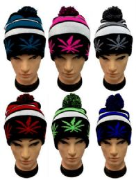 25 Units of Marijuana Pot Leaf Knitted Pom Pom Beanie - Winter Beanie Hats