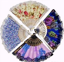 120 Units of Flowers And Lace Folding Hand Fans - Novelty Toys