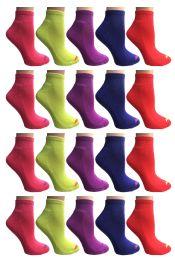 60 Units of SOCKS'NBULK Womens Cushion Athletic Performance Socks, Neon Sport Socks - Womens Ankle Sock