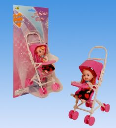 96 Units of Mini Doll with stroller in blister card - Dolls
