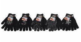 36 Units of Womens Assorted Black Knit Glove With Stone Decal - Knitted Stretch Gloves