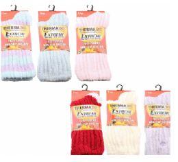 36 Units of Womens Fuzzy Rib Thermal Socks Size 9-11 - Womens Thermal Socks