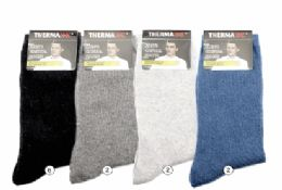36 Units of Mens Warm Winter Wool Thermal Socks, Size 10-13 - Mens Thermal Sock