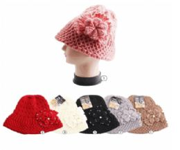 24 Units of Winter Warm Knit Bucket Hat With Rhine Stone Flower - Fashion Winter Hats