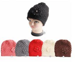 24 Units of Winter Warm Knit Beanie Hat With Rhine Stone Flower - Fashion Winter Hats