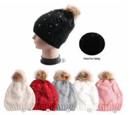 24 Units of Winter Warm Knit Beanie With Faux Fur Lining - Fashion Winter Hats