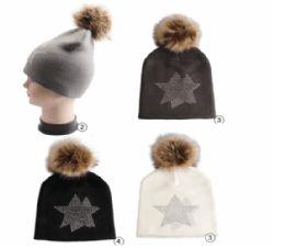 24 Units of Winter Warm Knit Beanie With Rhine Stone Studs - Fashion Winter Hats