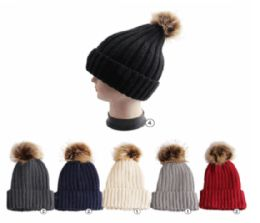 24 Units of Winter Warm Ribbed Knit Beanie Assorted Colors - Fashion Winter Hats