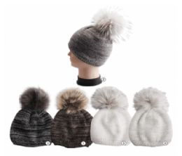 24 Units of Winter Warm Marled Knit Beanie Assorted Colors - Fashion Winter Hats