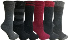 Yacht&smith 6 Pairs Womens Boot Socks, Thick Warm Winter Crew Sock (6 Pairs, Assorted a) - Womens Crew Sock