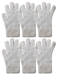 6 Units of Yacht & Smith Unisex Warm And Stretchy Winter Fuzzy Gloves Light Blue - Knitted Stretch Gloves