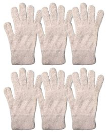 6 Units of Yacht & Smith Mens Womens, Warm And Stretchy Winter Gloves (6 pack Light Pink Fuzzy) - Knitted Stretch Gloves