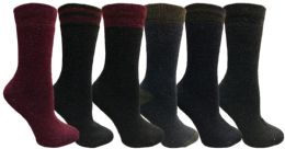 Yacht&Smith 6 Pairs Womens Boot Socks, Thick Warm Winter Crew Sock (6 Pairs, Assorted F) - Womens Crew Sock