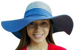 20 Units of 20 Pieces of Yacht & Smith Floppy Stylish Sun Hats Bow and Leather Design, Style C - Navy - Sun Hats