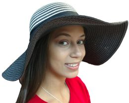 20 Units of 20 Pieces Of Yacht & Smith Floppy Stylish Sun Hats Bow And Leather Design, Style C - Black - Sun Hats