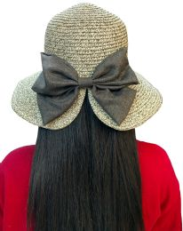 20 Units of 20 Pieces Of Yacht & Smith Floppy Stylish Sun Hats Bow And Leather Design, Style D - Khaki - Sun Hats