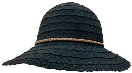 20 Units of Yacht & Smith Cotton Crochet Sun Hat Soft Lace Design, Style A - Black - Sun Hats