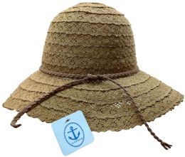 20 Units of Yacht & Smith Cotton Crochet Sun Hat Soft Lace Design, Style A - Coffee - Sun Hats