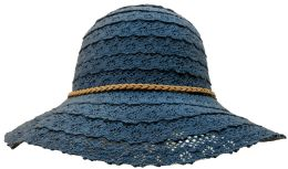 20 Units of Yacht & Smith Cotton Crochet Sun Hat Soft Lace Design, Style A - Navy - Sun Hats