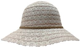 20 Units of Yacht & Smith Cotton Crochet Sun Hat Soft Lace Design, Style A - Rose - Sun Hats