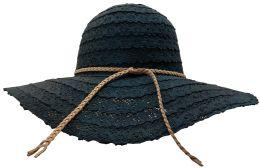 20 Units of Yacht & Smith Cotton Crochet Sun Hat Soft Lace Design, Style B - Black - Sun Hats