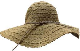 20 Units of Yacht & Smith Cotton Crochet Sun Hat Soft Lace Design, Style B - Coffee - Sun Hats
