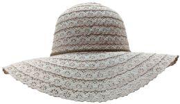20 Units of Yacht & Smith Cotton Crochet Sun Hat Soft Lace Design, Style B - Rose - Sun Hats