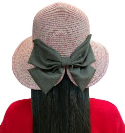 20 Units of 20 Pieces of Yacht & Smith Floppy Stylish Sun Hats Bow and Leather Design, Style D - Rose - Sun Hats