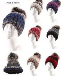 72 Units of Women Winter Slouchy Beanie Hat Soft Fleece Knit Ski Skull Cap with Pom - Fashion Winter Hats