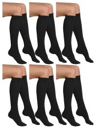 6 Units of Yacht & Smith Womens Knee High Socks, Cotton, Flat Knit, Solid Colors Black - Womens Knee Highs