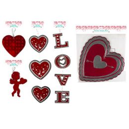 48 Units of Cutouts Valentine Hanging Hearts - Valentine Decorations