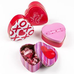 48 Units of Heart Tin Box - Valentine Decorations