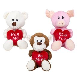 24 Units of Plush Valentine Animal Holding Heart Pillow - Valentine Decorations